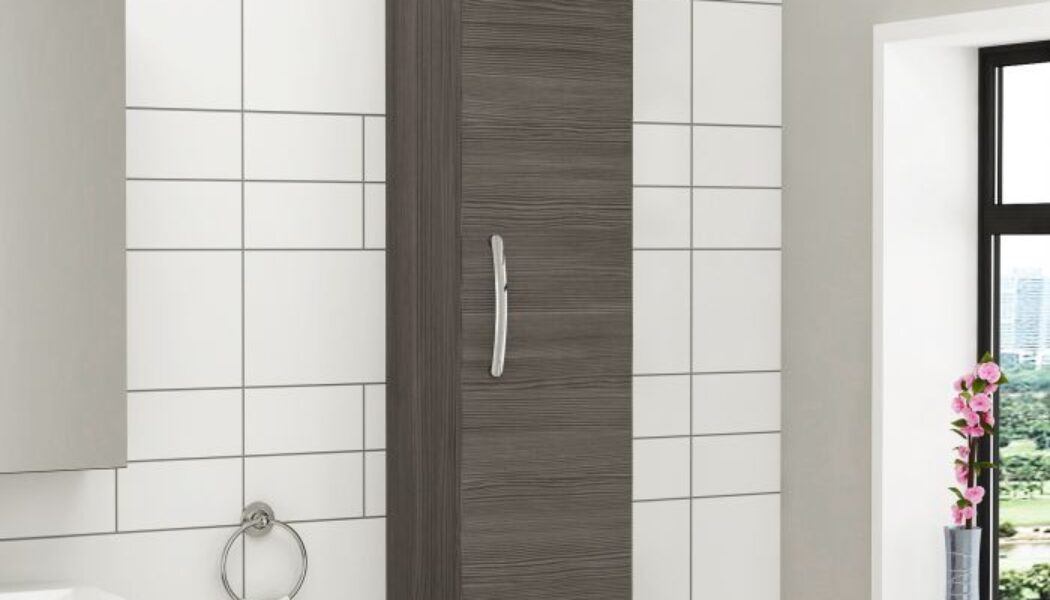 Combine style and storage with tall bathroom cabinets